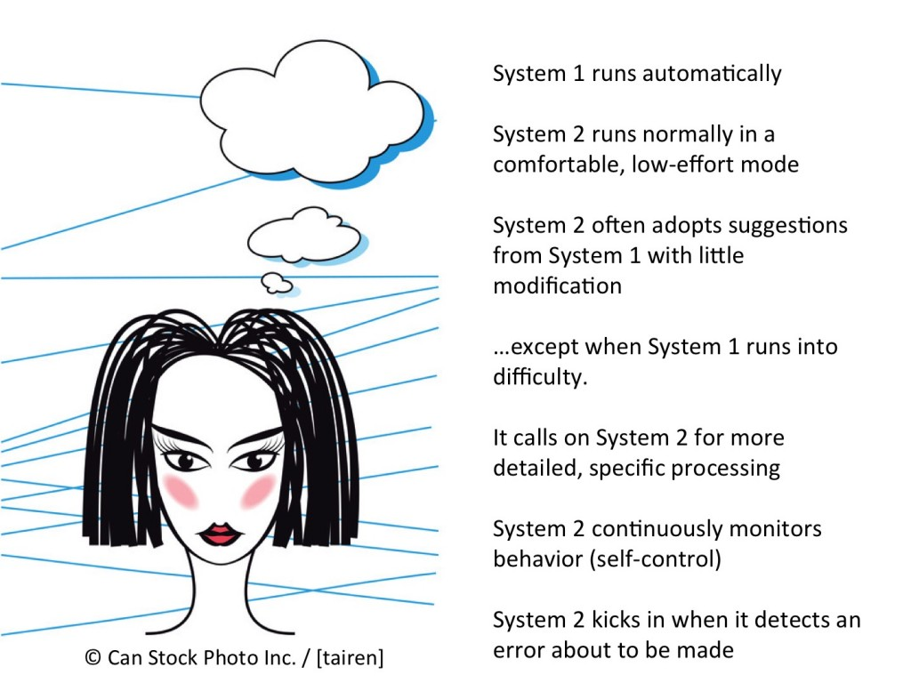 """system 1 and 2 thinking In kahneman's forthcoming book, thinking, fast and slow,  when you're asked  what """"2 + 2"""" equals, system 1 takes over, but when you're."""